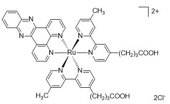Bis(4-methyl-4'-carboxypropyl-2,2'-bipyridyl)(dipyrido[3,2-a:2',3'-c]phenazine)ruthenium(II) dichloride