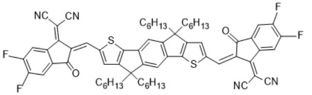 2,2'-((2Z,2'Z)-((4,4,9,9-tetrahexyl-4,9-dihydro-s-indaceno[1,2-b:5,6-b']dithiophene-2,7-diyl)bis(methanylylidene))bis(5,6-difluoro-3-oxo-2,3-dihydro-1H-indene-2,1-diylidene))dimalononitrile