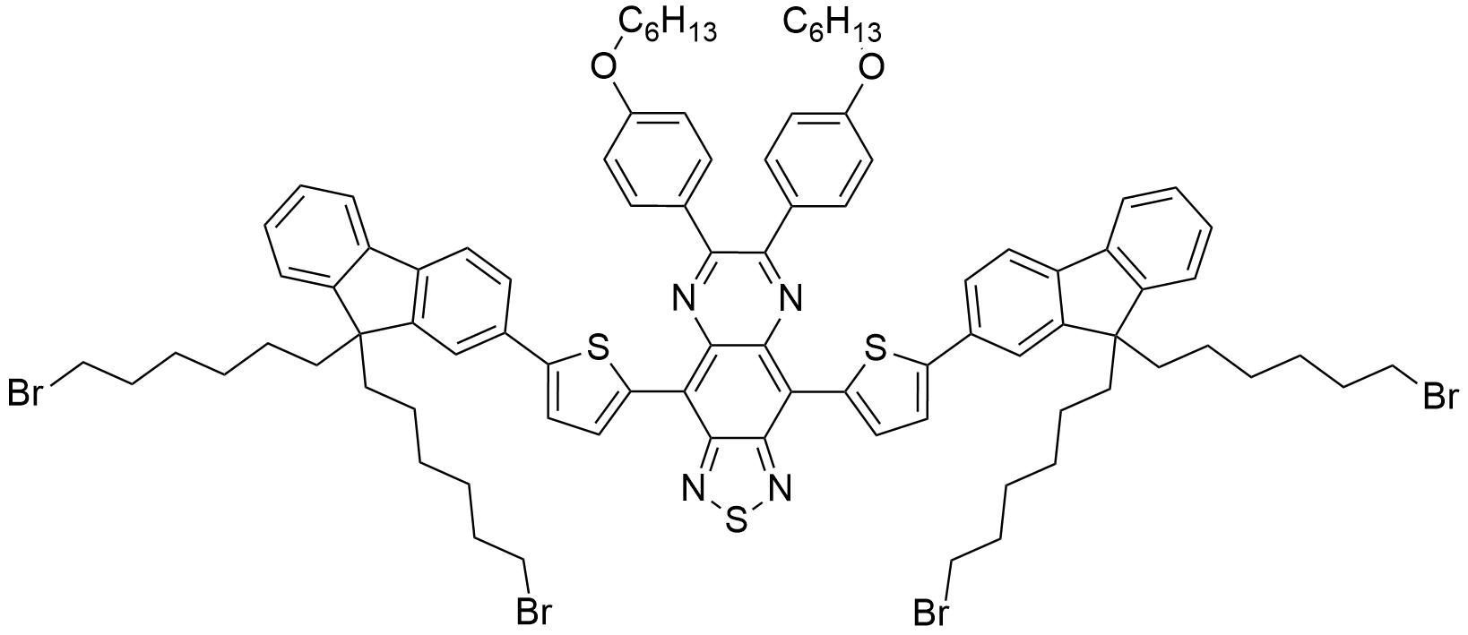 4,9-双(5-(9,9-双(6-溴己基)-9H-芴-2-基)噻吩基)-6,7-双(4-己氧基)苯基)-[1,2,5]噻二唑[3,4-g]喹喔啉