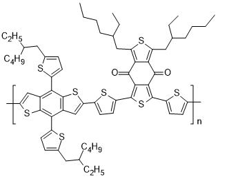 聚([2,6'-4,8-双-((2-乙基己基)-噻吩-5-基)苯并[1,2-b;3,3-b]二噻吩]-alt-[1,3-双-(噻吩-5 基)-5,7-双-(2-乙基己基)苯并[1,2-c:4,5-c']二噻吩-4,8-二酮])